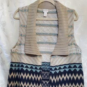 Chicos Long Vest Cardigan Open Front Knit Sweater